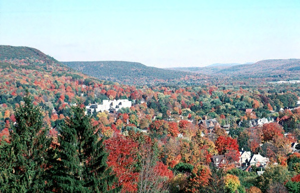 View of Oneonta NY in Autumn, Leaf Peeping